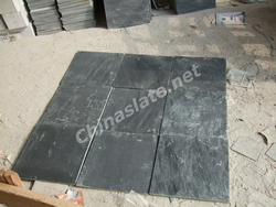 black tile flooring slate