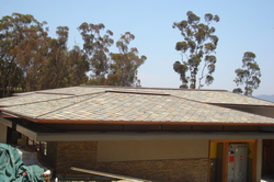 villa top roof by rust slate tiles