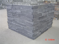 black slate stacked stone corner