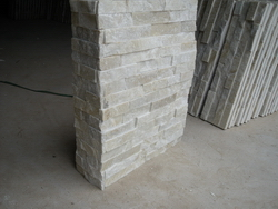 beige white quartzite wall cladding stone corner