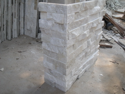 white quartzite wall cladding stone corner