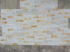 white marble and sunny golden marble split surface wall cladding stone