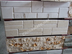 polished marble and tumbled wall stone veneer