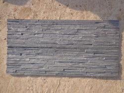 black slate narrow stripes wall stone