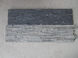 grey and black quartzite stone panel