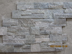 grey quartzite wall stacked ledge stone