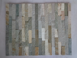 green and grey slate ledge wall stone